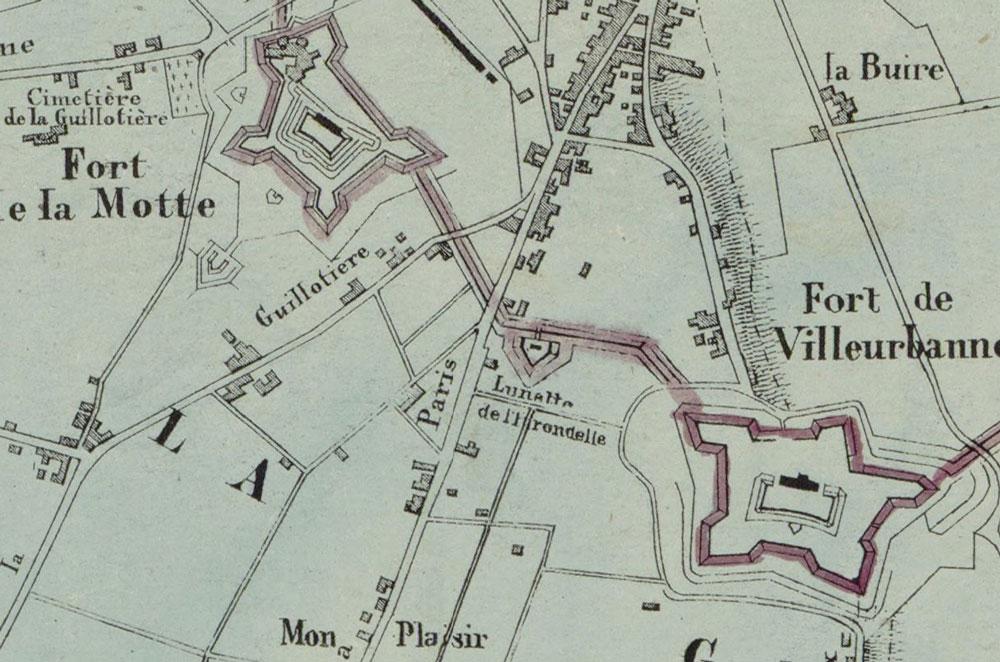 Histoire du quartier Monplaisir-Lumière Lyon 8 - Fortifications
