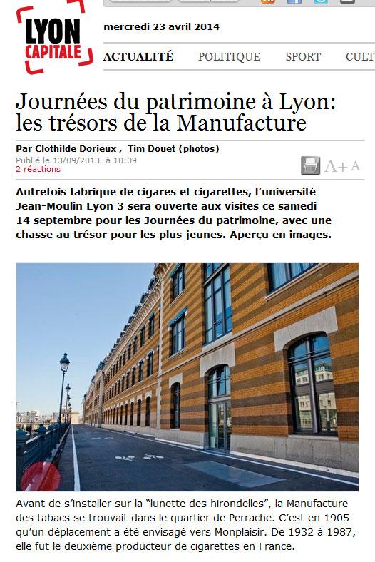 La Presse parle de Monplaisir - Lyon Capitale Journée du Patrimoine - La Manufacture des Tabacs
